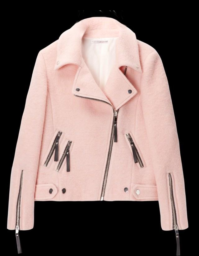 Stradivarius Pink Wool Biker Jacket