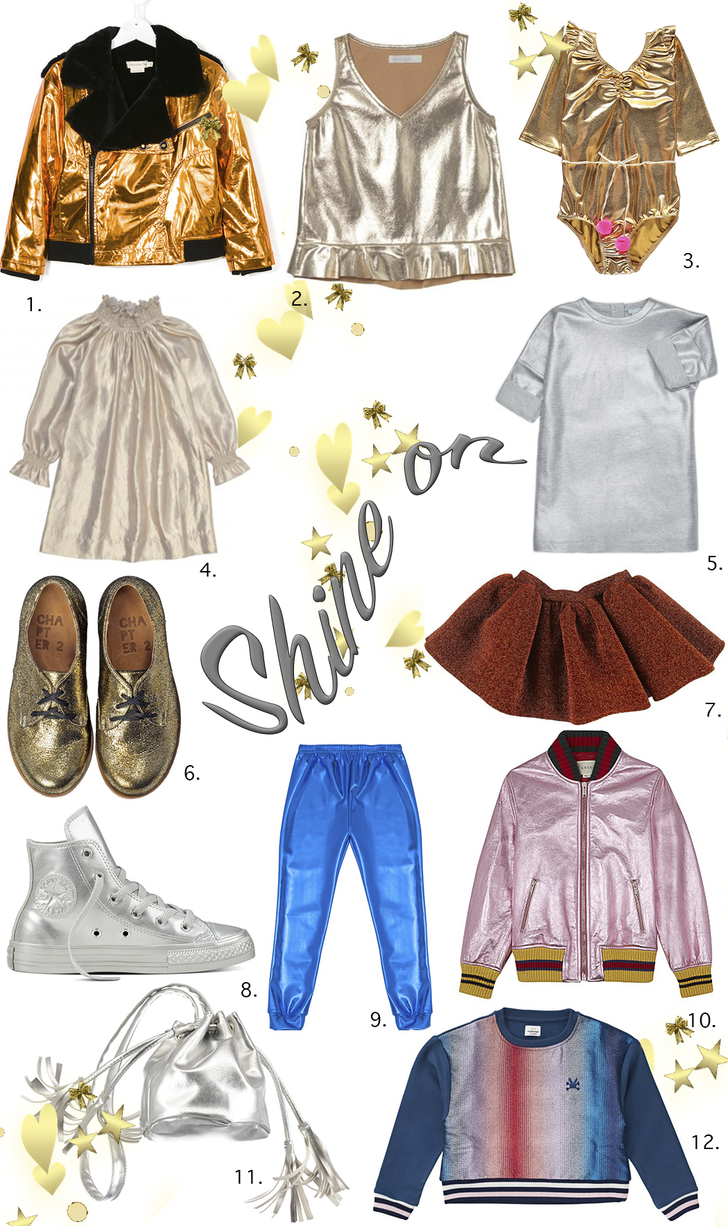 Shine On a Trends Edit featuring all things shiny and metallics by Yvadney Davis #trends #edit #metallic #yvadneydavis #oaksofacorn #juniorstyle