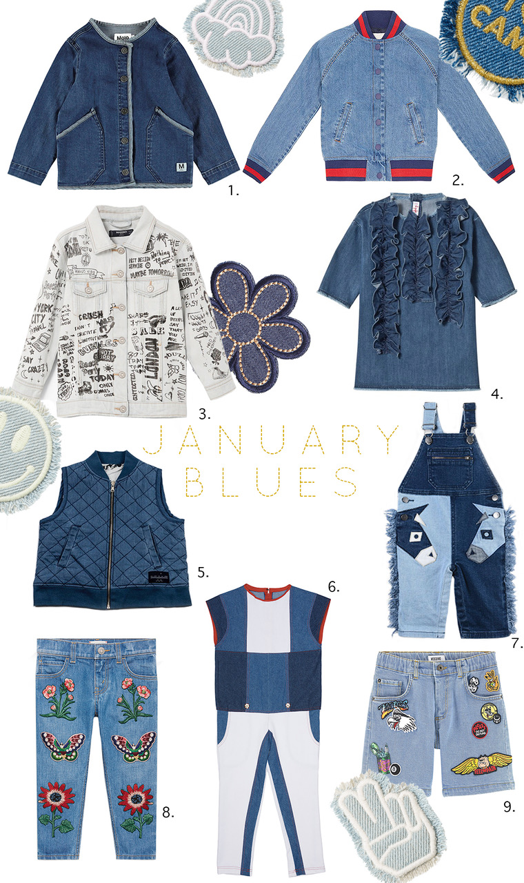 Demin Kids clothing Edit - January Blues #denim #denimjacket #denimwear #denimjeans #jeans #moschino #girlswear #boyswear #kidsfashion #juniorstyle #edit #trends #isossy #molo