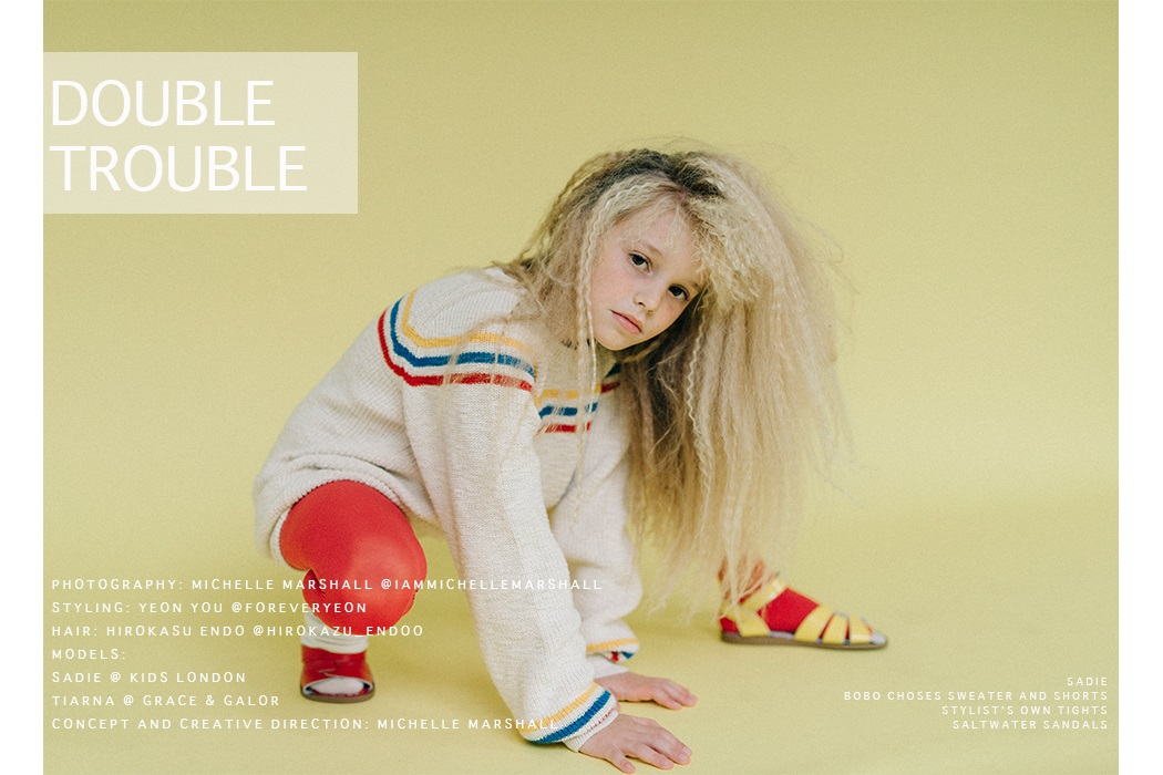 Double Trouble an Editorial from Hooligans Magazine Spectrum Issue by Michelle Marshall #hooligansmagazine #editrorial #kidsfashion #michellemarshall